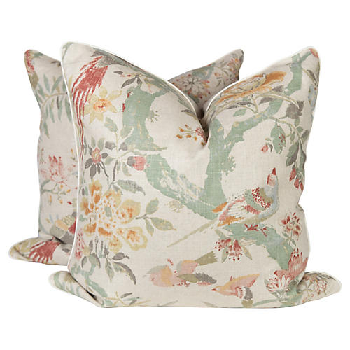 Chinoiserie Bird Pillows, Pair
