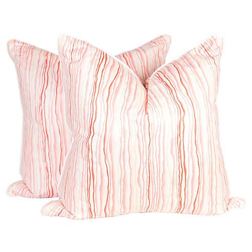 Pink Squiggle Pillows, Pair