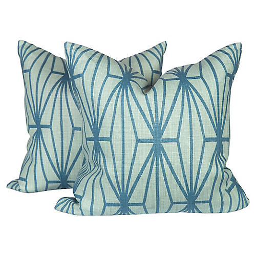 Katana Teal Linen Pillows, Pair