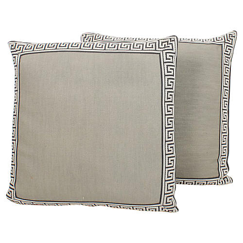 Pewter Linen Greek Key Pillows, Pair
