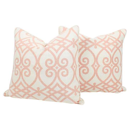 Pink & Ivory Linen Trellis Pillows, Pair
