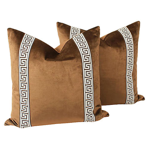Espresso Velvet Greek Key Pillows, Pair