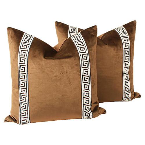 Espresso Velvet Greek Key Pillows, Pair