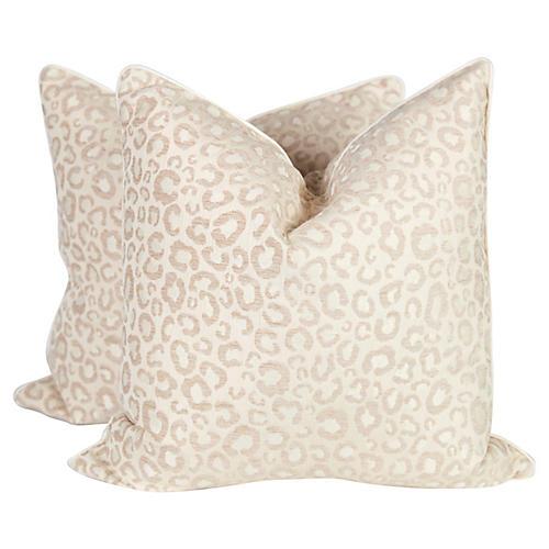 Cream & Ivory Leopard Pillows, Pair