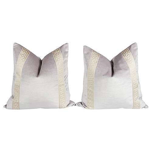 Lavender Velvet Greek Key Pillows, Pair