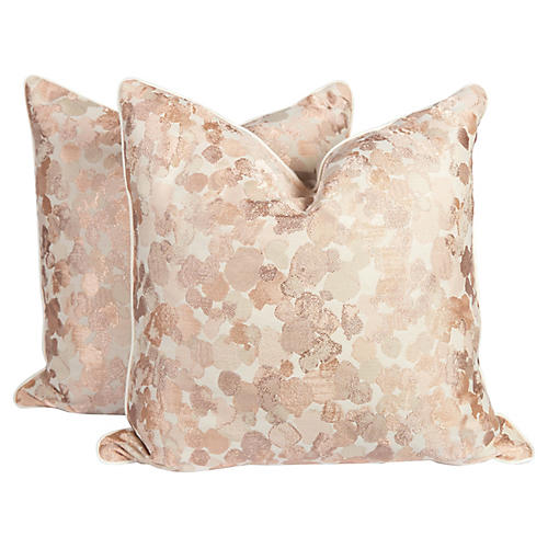 Blush Velvet Spotted Pillows, Pair