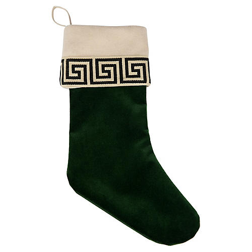 Emerald Green Velvet Greek Key Stocking