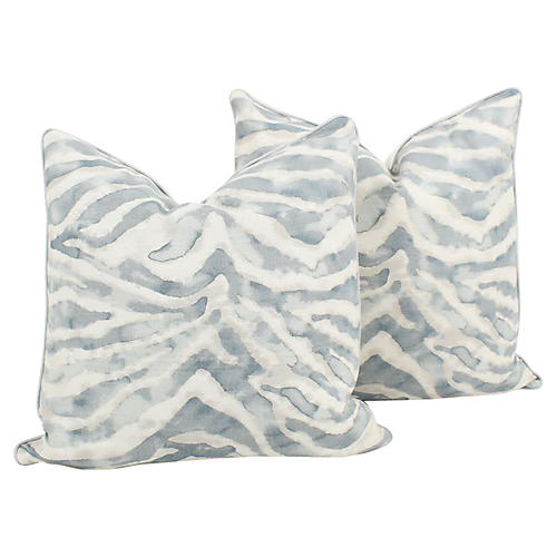 Sky Blue Zebra Nairobi Pillows, Pair