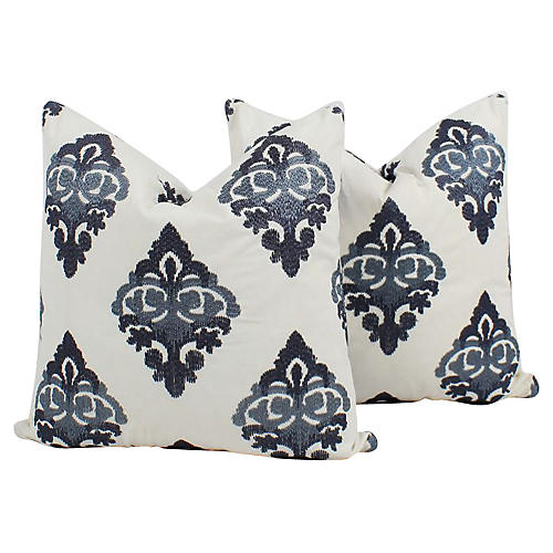 Blue Batik Embroidered Linen Pillows, Pr