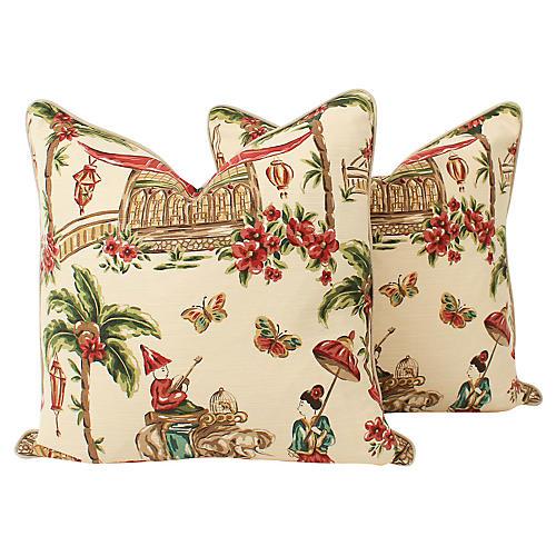 Red & Cream Chinoiserie Pillows, Pair