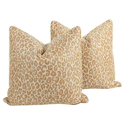 Caramel Leopard Pillows, Pair