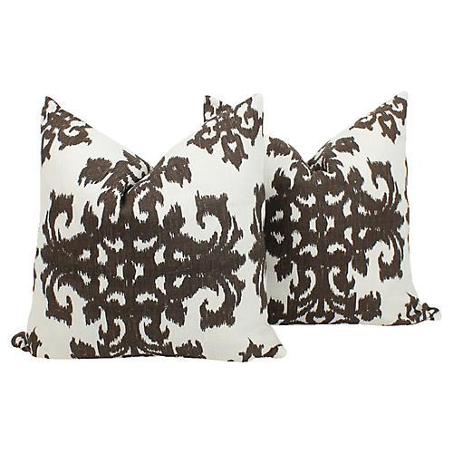 Chocolate & Ivory Ikat Linen Pillows, Pr