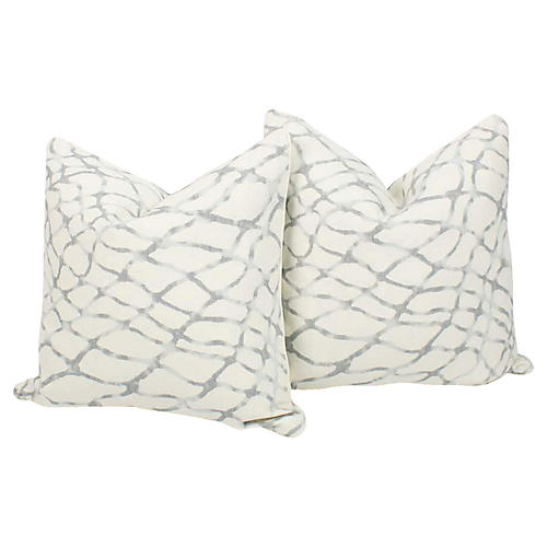 Blue & Ivory Linen Lagoon Pillows, Pair