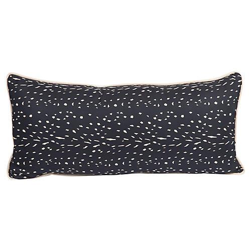 Black Speckled Silk Lumbar Pillow