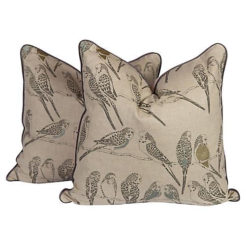 Linen Parakeet Pillows, Pair