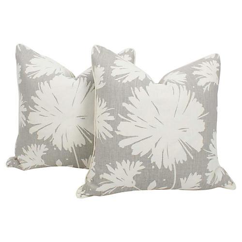 Gray & Ivory Peony Splash Pillows, Pair