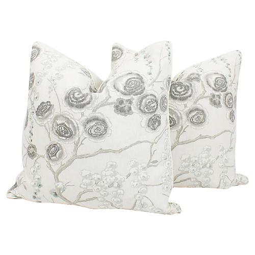 Linen Cherry Blossom Pillows, Pair