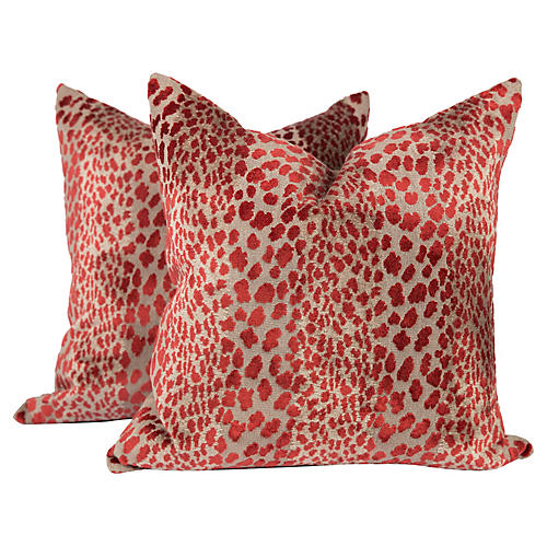 Garnet Red Velvet Cheetah Pillows, Pair
