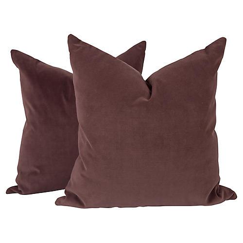 Plum Velvet Pillows, Pair