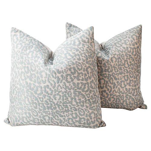 Light Blue & Cream Leopard Pillows, Pair