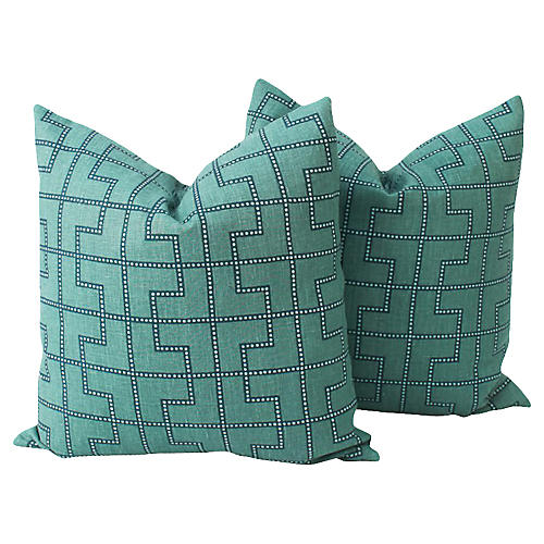 Peacock Linen Bleecker Pillows, Pair