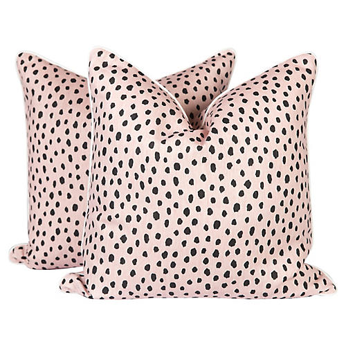 Blush Tanzania Linen Pillows, Pair