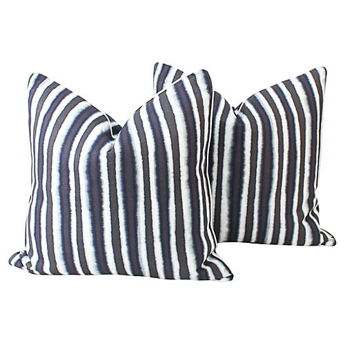 Blue Baxter Ombré Stripe Pillows, Pair