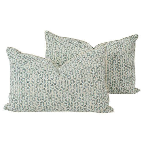 Mint Linen Ogee Lumbar Pillows, Pair