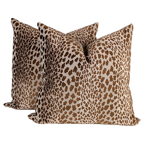 Chocolate Velvet Cheetah Pillows, Pair