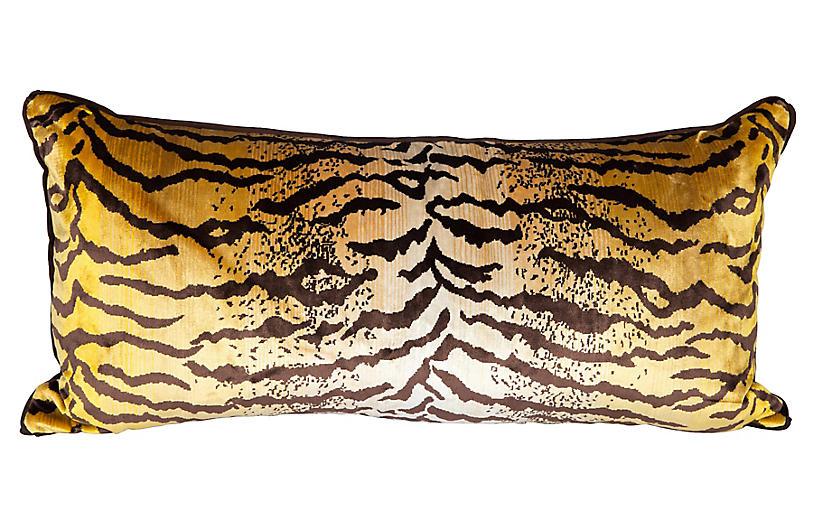 Velvet & Silk Tiger Lumbar Pillow