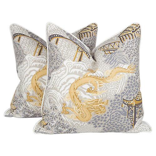 Chinoiserie Dragon Pillows, Pair
