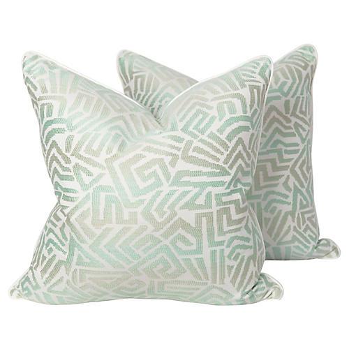 Tribal Seafoam Geometric Pillows, Pair