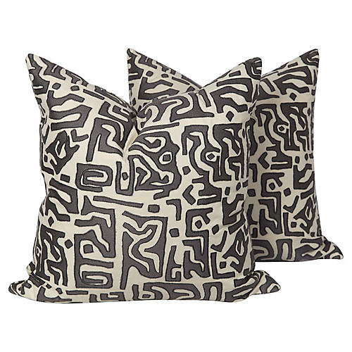 Kasai Tribal Embroidered Pillows, Pair