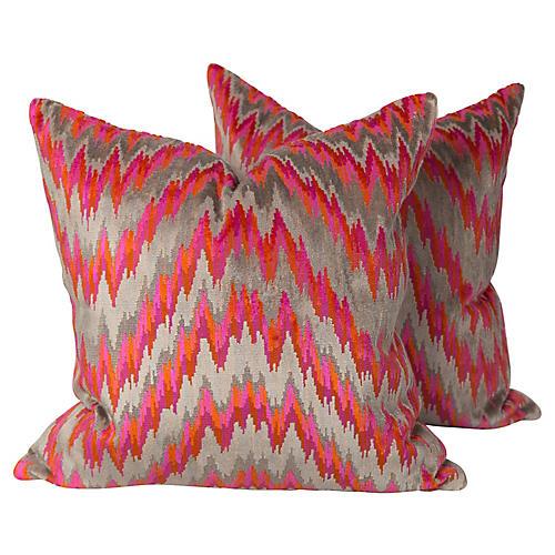 Velvet Flame Stitch Pillows, Pair