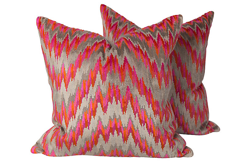 Velvet Flame Stitch Pillows, Pair