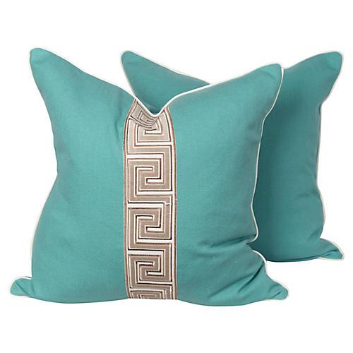 Turquoise Linen Greek Key Pillows, Pair