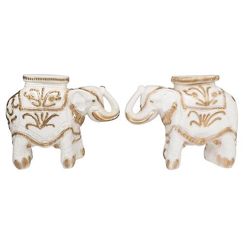 Gold & Ivory Elephant Garden Stools, Pr