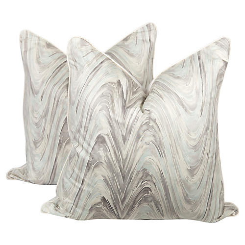 Marble Swirl Pillows, Pair