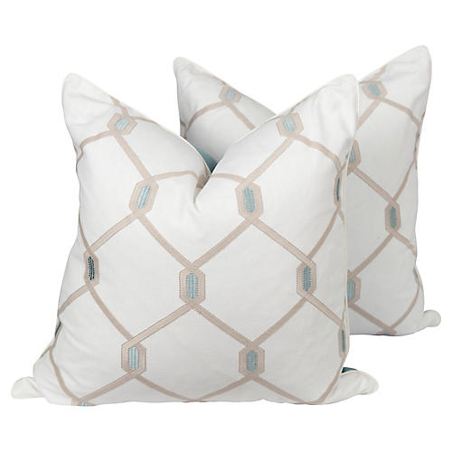 Ivory Linen Embroidered Hex Pillows, Pr