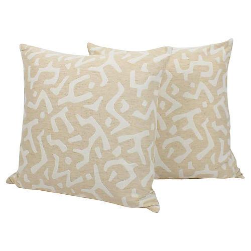 Bone & Cream Linen Tribal Pillows, Pair