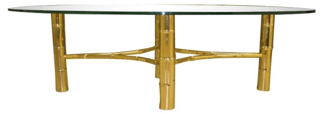 Brass & Glass Bamboo-Style Coffee Table