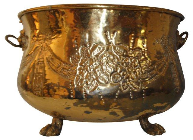 Brass Fireplace Bucket w/ Lion Handles