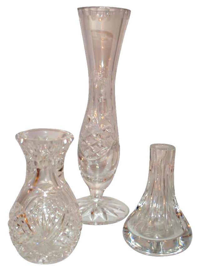 Cut-Crystal Vases, S/3