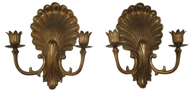 Brass Clamshell Sconces, Pair
