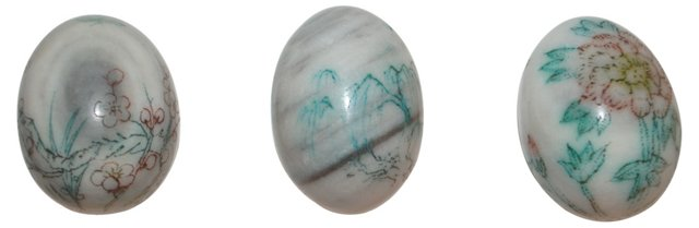 Chinoiserie Painted Marble Eggs, S/3