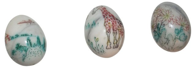 Chinoiserie Marble   Eggs, S/3
