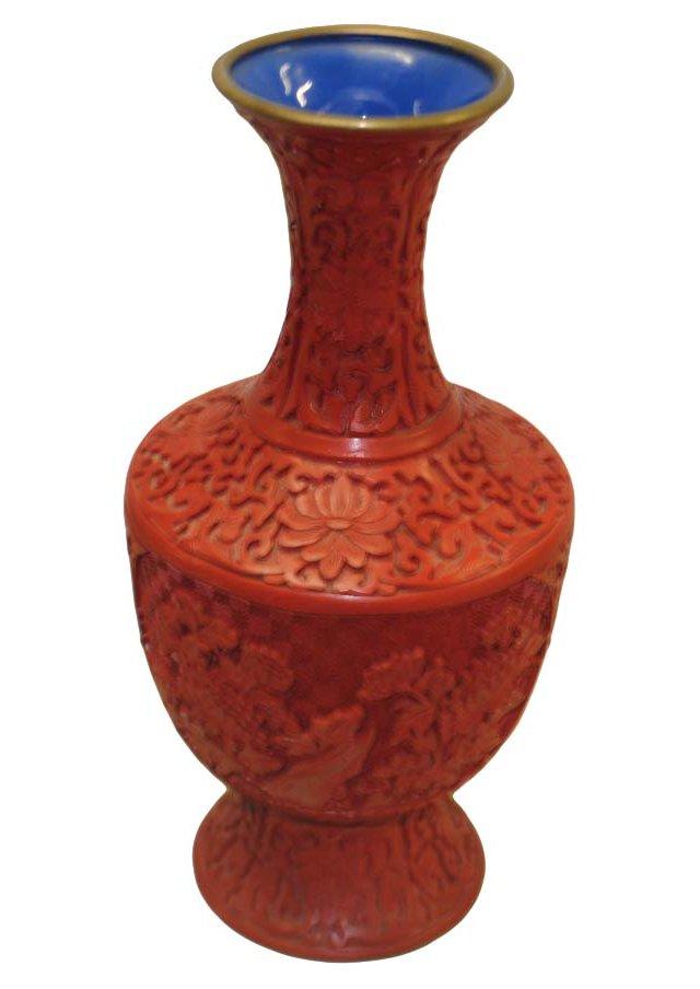 Chinese Carved Cinnabar Vase