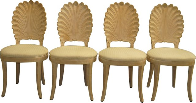 Dining Chairs w/ Shell Backs, S/4