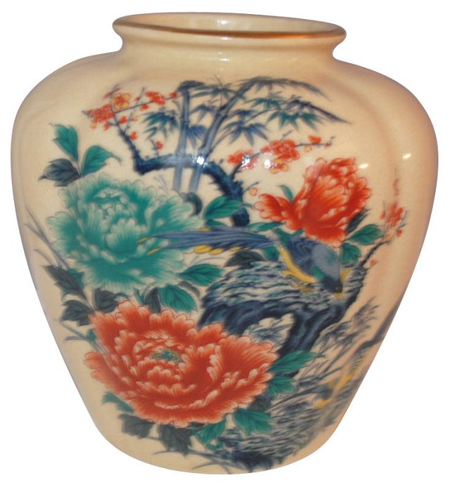 Turquoise & Red Chinoiserie Vase