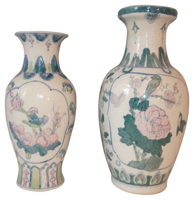 Chinoiserie Bird Vases, Pair